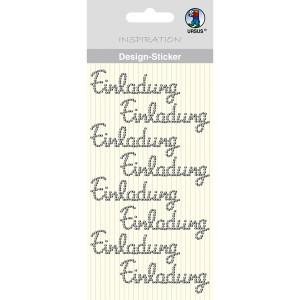 """Design Sticker """"Einladung"""" silber"""