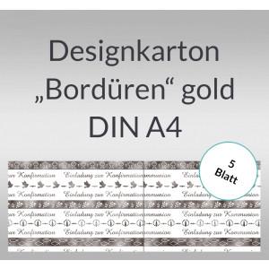 """Designkarton """"Bordüren"""" silber DIN A4 - 5 Blatt"""