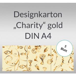 "Designkarton ""Charity"" gold DIN A4 - 5 Blatt"