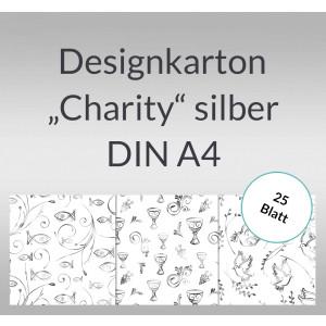 "Designkarton ""Charity"" silber DIN A4 - 5 Blatt"