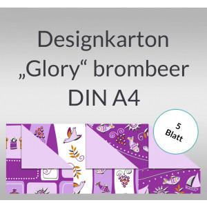 """Designkarton """"Glory"""" brombeer DIN A4 - 5 Blatt"""
