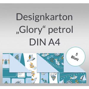 "Designkarton ""Glory"" petrol DIN A4 - 5 Blatt"