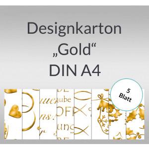 """Designkarton """"Gold"""" DIN A4 - 5 Blatt"""