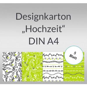 "Designkarton ""Hochzeit"" DIN A4 - 5 Blatt"