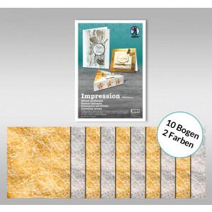 """Designkarton """"Impression"""" 50 x 70 cm gold/silber - 10 Bogen sortiert"""