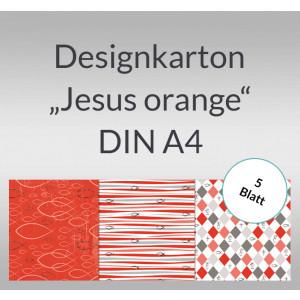 """Designkarton """"Jesus orange"""" DIN A4 - 5 Blatt"""