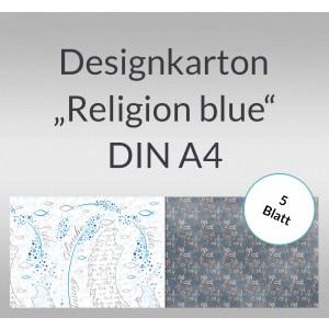 """Designkarton """"Religion blue"""" DIN A4 - 5 Blatt"""
