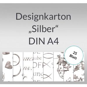 """Designkarton """"Silber"""" DIN A4 - 5 Blatt"""