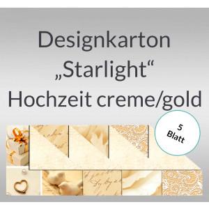 "Designkarton ""Starlight"" Hochzeit creme/gold DIN A4 - 5 Blatt"