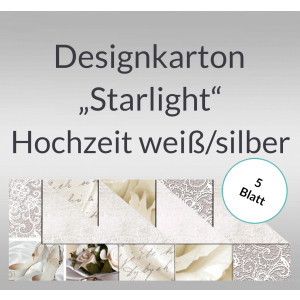 "Designkarton ""Starlight"" Hochzeit weiß/silber DIN A4 - 5 Blatt"