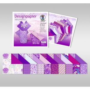 """Designpapier Faltblätter """"Amethyst"""" 100 g/qm 15 x 15 cm - 50 Blatt"""