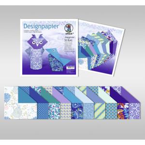 """Designpapier Faltblätter """"Sapphire"""" 100 g/qm 20 x 20 cm - 50 Blatt"""