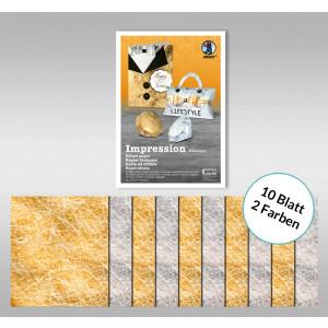 """Designpapier """"Impression"""" 23 x 33 cm gold/silber - 10 Blatt sortiert"""