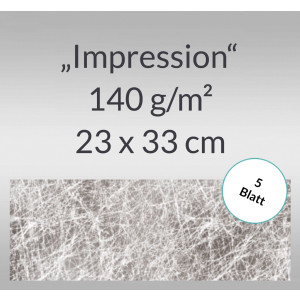 "Designpapier ""Impression"" 23 x 33 cm silber - 5 Blatt"