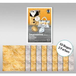 "Designpapier ""Impression"" 50 x 70 cm gold/silber - 10 Bogen sortiert"