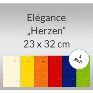 "Elegance ""Herzen"" 220 g/qm 23 x 32 cm - 5 Blatt"