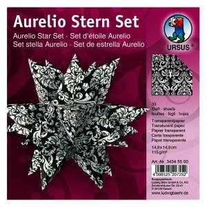 """Faltblätter Aurelio-Stern """"Black & White"""" Wappen 14,8 x 14,8 cm"""