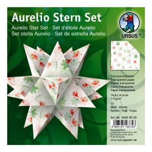 "Faltblätter Aurelio-Stern ""Classic Christmas"" Eisblumen rot/grün 14,8 x 14,8 cm"
