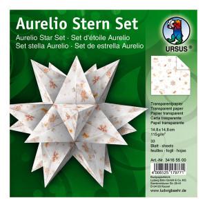 """Faltblätter Aurelio-Stern """"Classic Christmas"""" Weihnachten creme/braun 14,8 x 14,8 cm"""