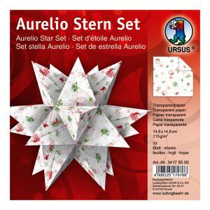 """Faltblätter Aurelio-Stern """"Classic Christmas"""" Weihnachten rot/grün 14,8 x 14,8 cm"""
