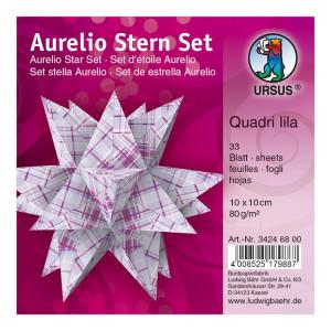 """Faltblätter Aurelio-Stern """"Quadri lila"""" 10 x 10 cm"""