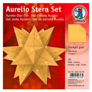"Faltblätter Aurelio-Stern ""Starlight"" gold matt 15 x 15 cm"