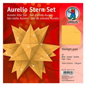 "Faltblätter Aurelio-Stern ""Starlight"" gold matt 19,8 x 19,8 cm"