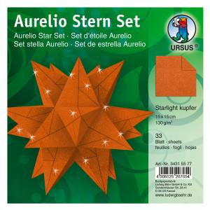 """Faltblätter Aurelio-Stern """"Starlight"""" kupfer matt 15 x 15 cm"""
