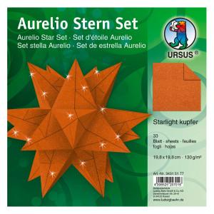 """Faltblätter Aurelio-Stern """"Starlight"""" kupfer matt 19,8 x 19,8 cm"""