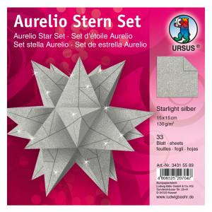 "Faltblätter Aurelio-Stern ""Starlight"" silber matt 15 x 15 cm"