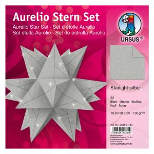 "Faltblätter Aurelio-Stern ""Starlight"" silber matt 19,8 x 19,8 cm"