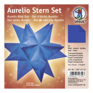 """Faltblätter Aurelio-Stern """"Uni"""" blau 15 x 15 cm"""