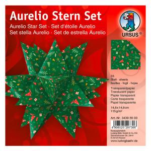"""Faltblätter Aurelio-Stern """"Winterzauber 2"""" rot/grün 14,8 x 14,8 cm"""