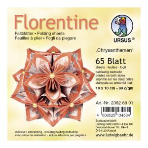 """Faltblätter Florentine """"Chrysanthemen"""" 10 x 10 cm - 65 Blatt"""