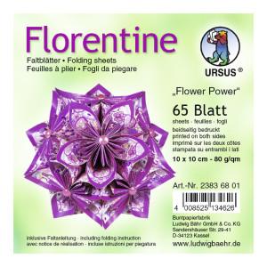 "Faltblätter Florentine ""Flower Power"" 10 x 10 cm - 65 Blatt"