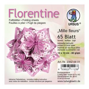 "Faltblätter Florentine ""Millefleurs"" 10 x 10 cm - 65 Blatt"