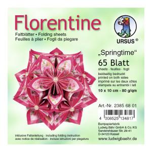 """Faltblätter Florentine """"Springtime"""" 10 x 10 cm - 65 Blatt"""