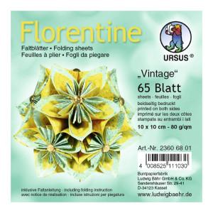 """Faltblätter Florentine """"Vintage"""" 10 x 10 cm - 65 Blatt"""