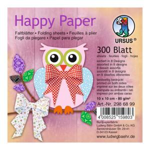"""Faltblätter """"Happy Paper"""" 10 x 10 cm - 300 Blatt"""