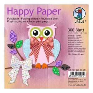 """Faltblätter """"Happy Paper"""" 15 x15 cm - 300 Blatt"""
