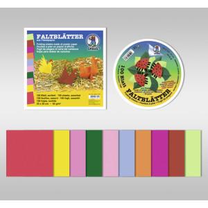 Faltblätter intensiv 65 g/qm ø 12 cm - 100 Blatt sortiert