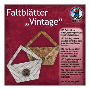 """Faltblätter """"Vintage"""" 10 x 10 cm - 120 Blatt"""