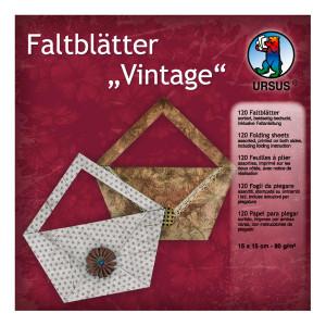"""Faltblätter """"Vintage"""" 15 x 15 cm - 120 Blatt"""
