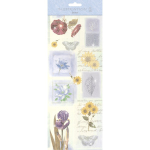 "Flat Sticker ""Flowers"" blau"