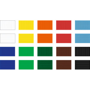 Flechtblätter sortiert in 10 Farben, 12 x 17 cm, 10 mm in 50 Paar