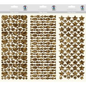 Flitter Sticker, 1 Blatt Folienstoff-Sticker, ca. 12 x 29 cm, selbstklebend, gold