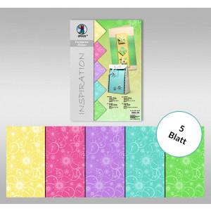 """Flockkarton """"Blüten"""" DIN A4 - 5 Blatt sortiert"""