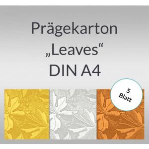 "Folien-Prägekarton ""Leaves"" DIN A4 - 5 Blatt"