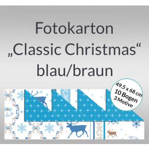 "Fotokarton ""Classic Christmas"" blau/braun 49,5 x 68 cm - 10 Bogen sortiert"