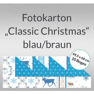 "Fotokarton ""Classic Christmas"" blau/braun 49,5 x 68 cm - 10 Bogen"